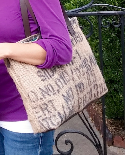 Charleston Burlap Tote Bag - handmade Plymouth MI - Lina and Vi
