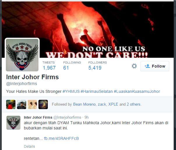 inter johor firm IJF dibubarkan