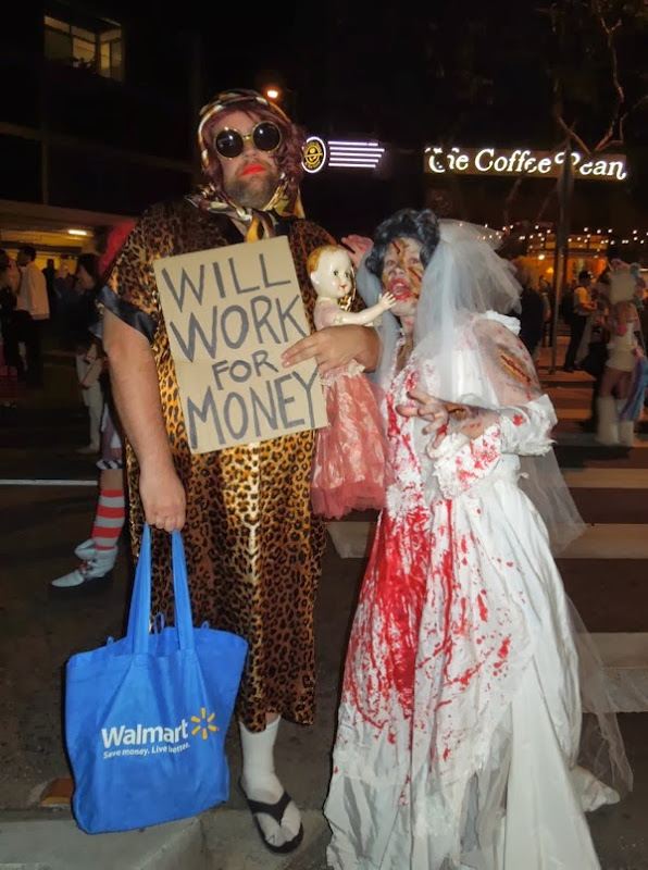 Will Work for Money drag costume West Hollywood Halloween
