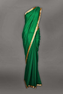 dark teal georgette sari