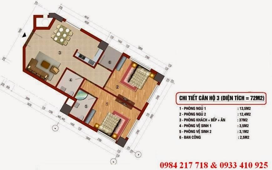 Chi tiết thiết kế căn hộ 72 m2 - chung cư CT1 Trung Văn