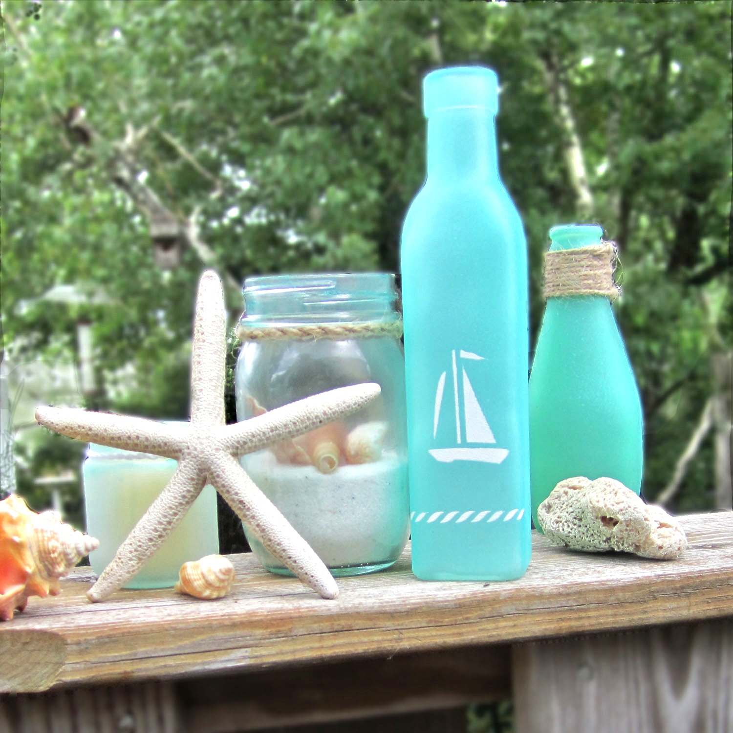 Nautical crafts to make - Turning Jars Into Beach Glass Other Modern Nautical D Cor Using Martha Stewart Crafts Spray Paint System Nautical Stencils