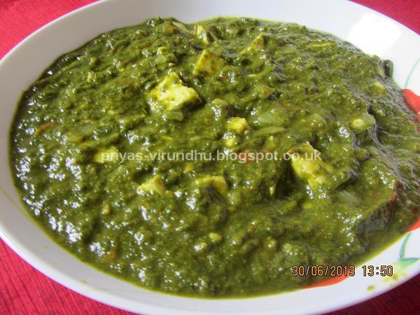 Priya's Virundhu....: Palak/Spinach Paneer
