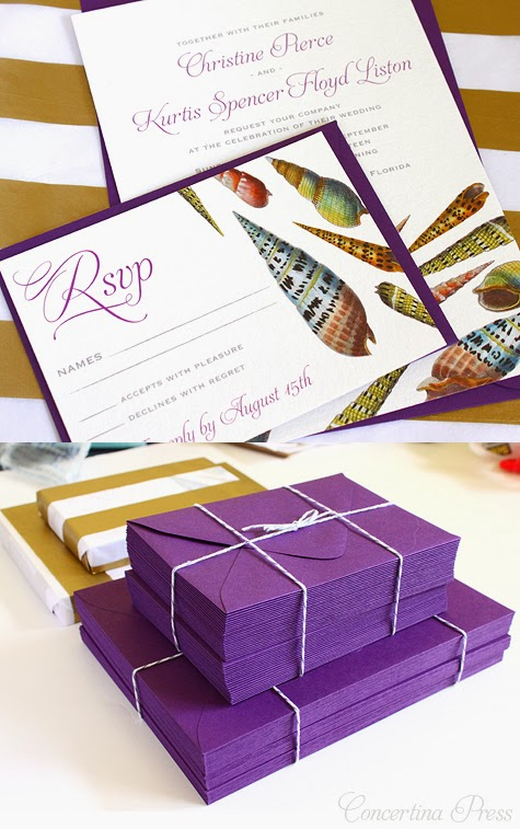 Purple Seashell Wedding invitations - Concertina Press