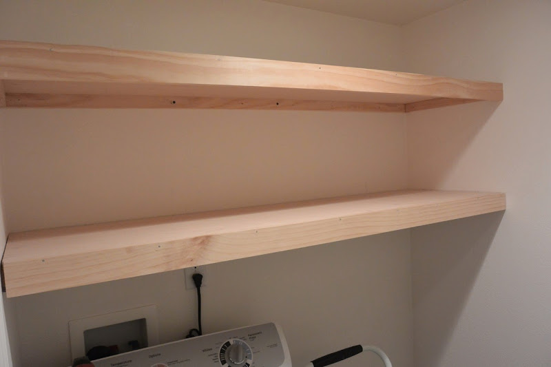DIY Floating Shelves Laundry Room