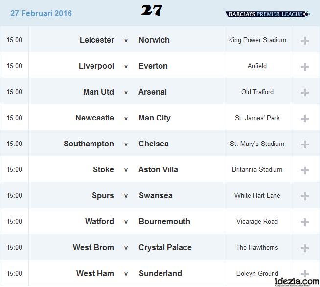 Jadwal Liga Inggris Pekan ke-27 27 Februari 2016