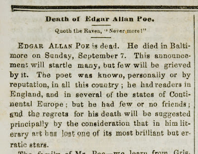Edgar Allan Poe obituary