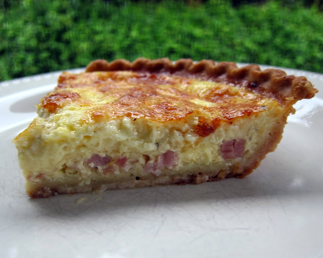 Ham and Gruyere Quiche - eggs, milk, sour cream ham, gruyere cheese - can assemble & freeze for later! SO good! We love it for breakfast, lunch or dinner.