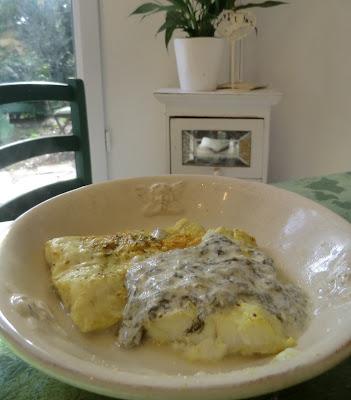 Cabillaud au curcuma et crème soja à l'oseille