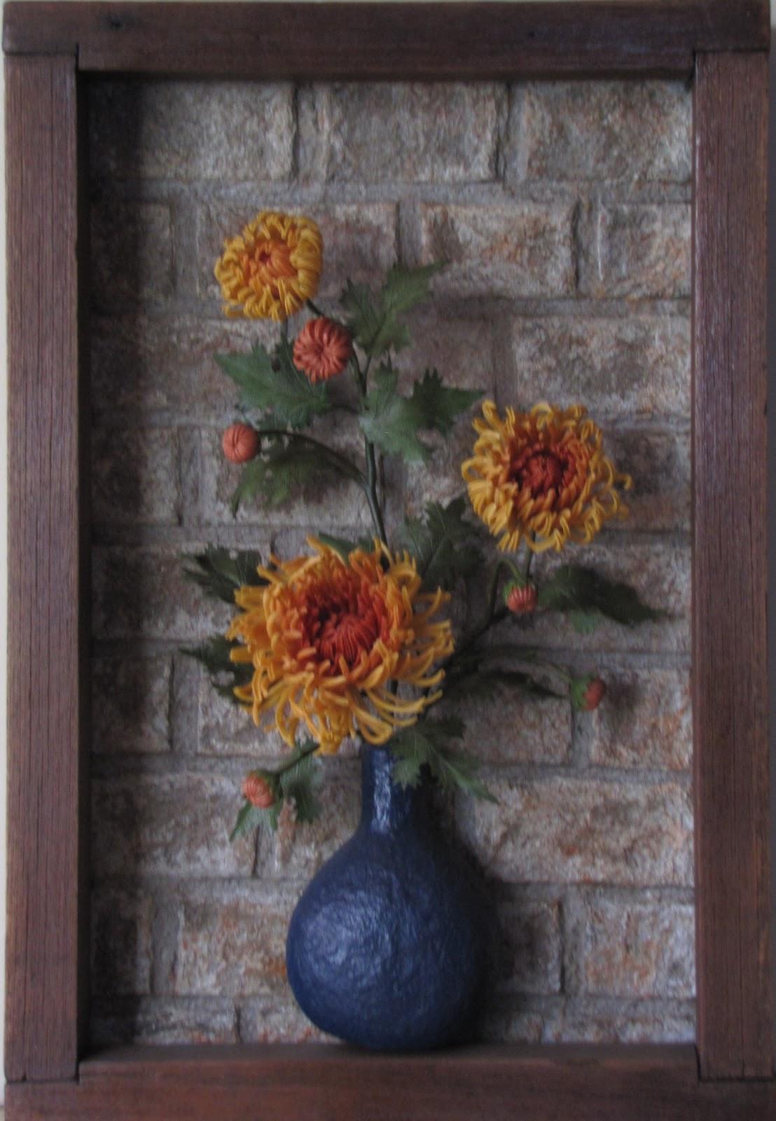 Rubi montejo cuadro alto relieve crisantemos alto for Cuadros con corchos