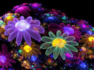 flores fractales con colores del arcoiris