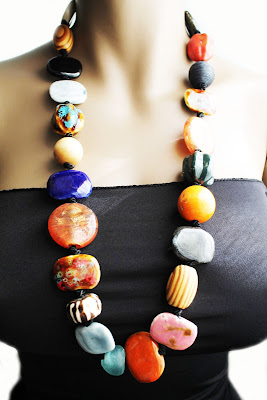 african chunky beaded necklace