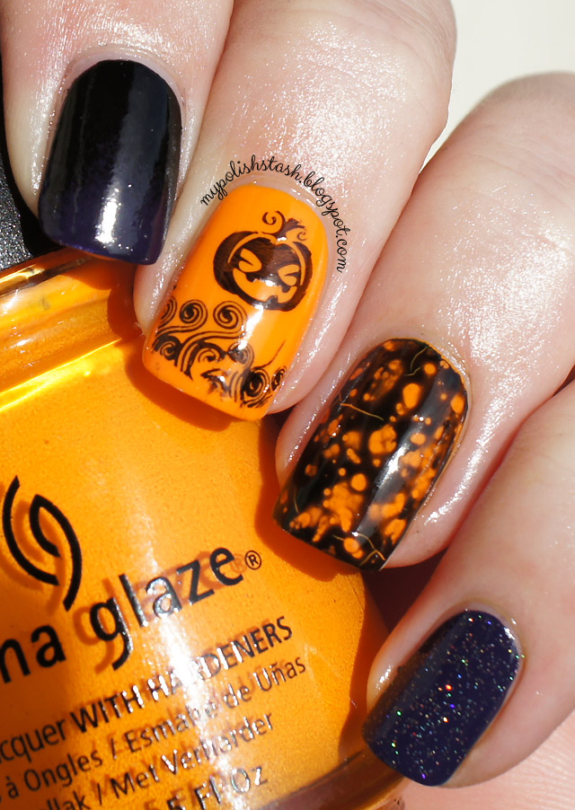 gradient stamping OPI spotted Halloween