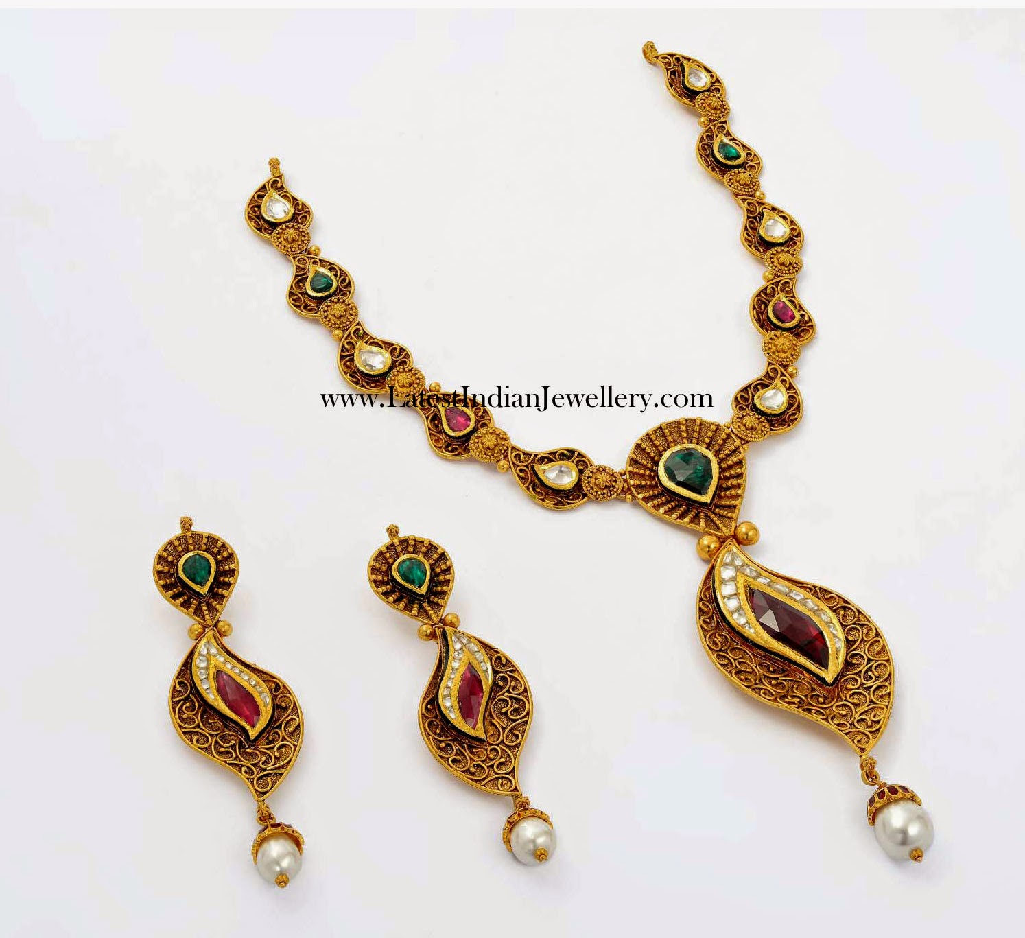 Two Tone Antique Kundan Necklace
