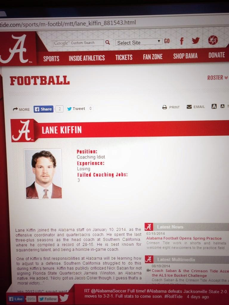 Lane Kiffin's Alabama bio page gets hacked, calls him a Coaching Idiot.