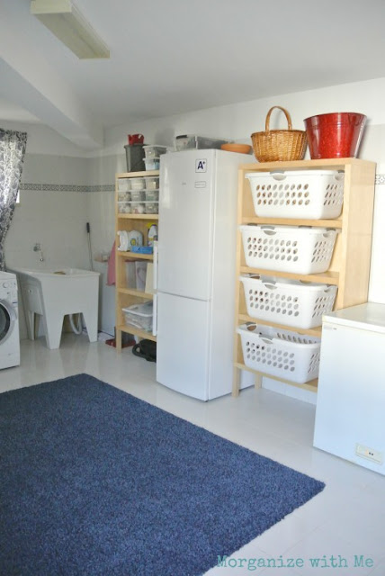 Large laundry room with baskets and organization :: OrganizingMadeFun.com