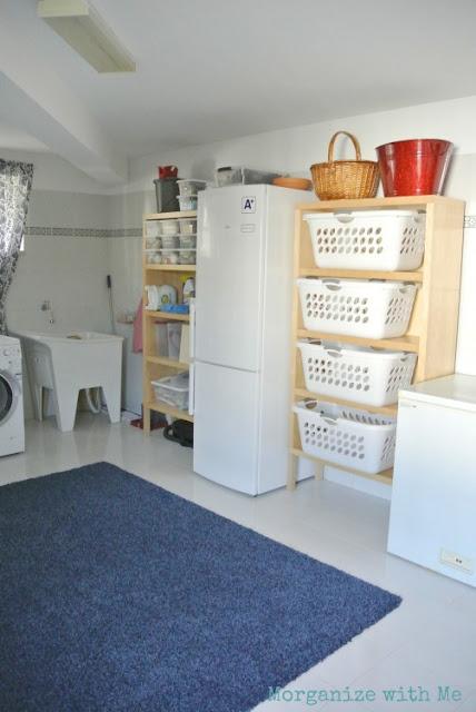Large laundry room with baskets and organization :: OrganizingMadeFun.com