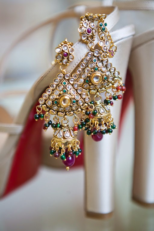 indian wedding, south asian wedding, bridal shoes, bridal earrings