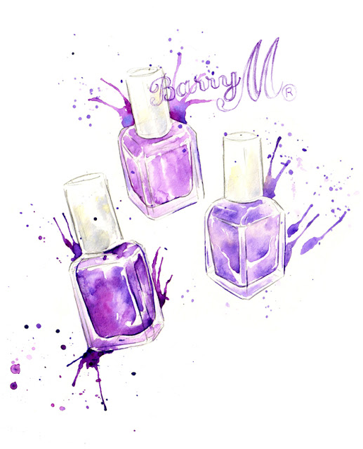 """Amy Holliday Illustration : Berry-Purple """"Barry M"""" & Coral"""