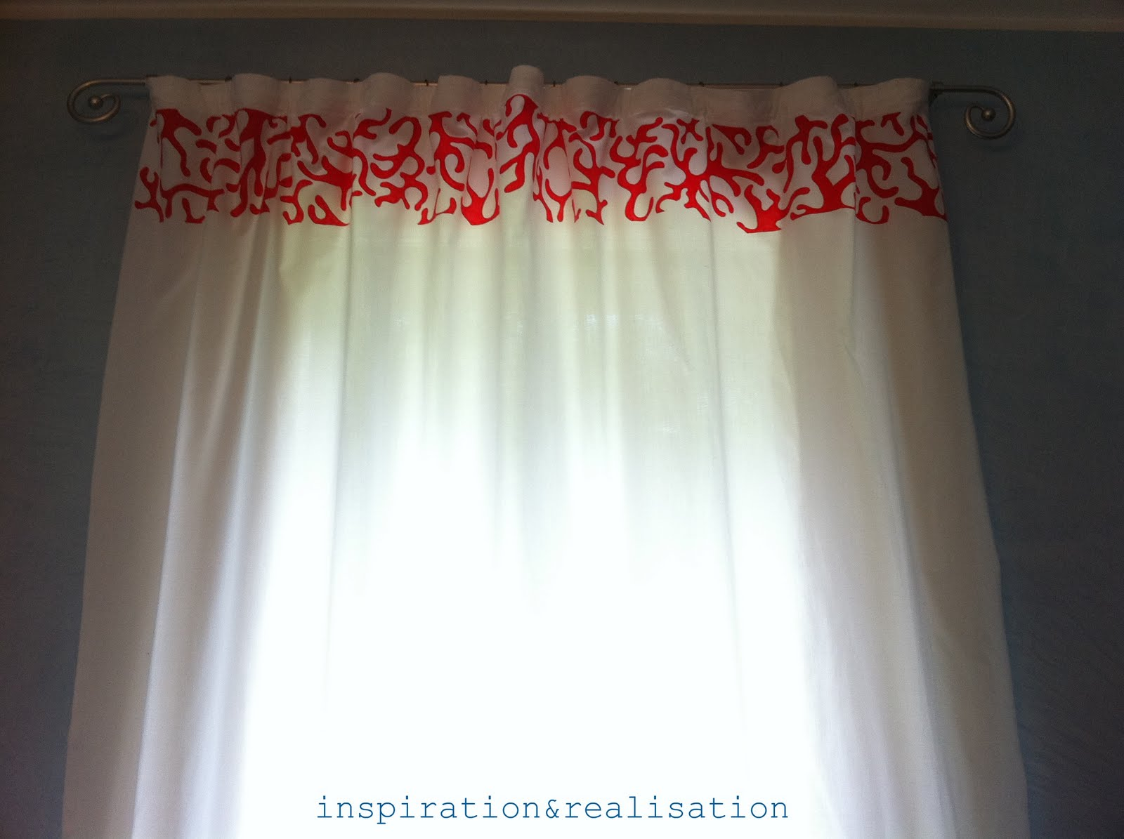 White and coral curtains - The Bathroom Looks So Much Brighter With The White Curtain
