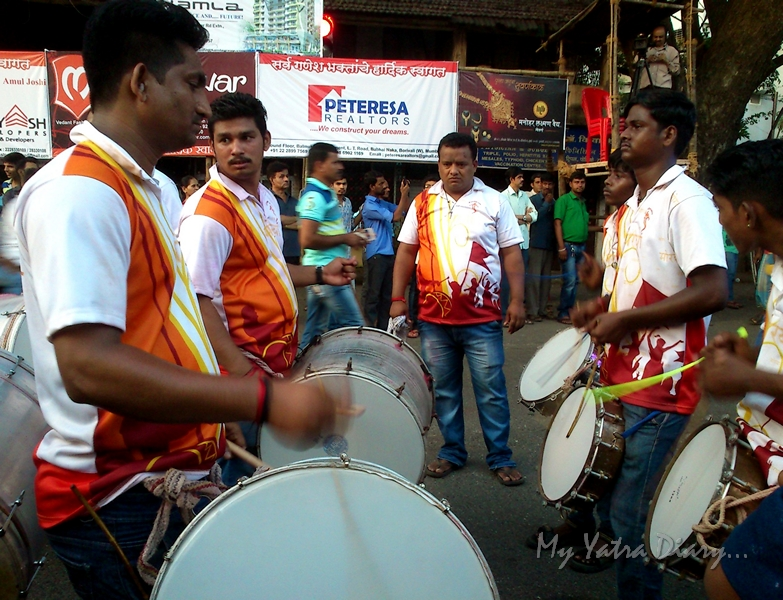 Dhols and music during Ganesh Visarjan ceremony, Mumbai