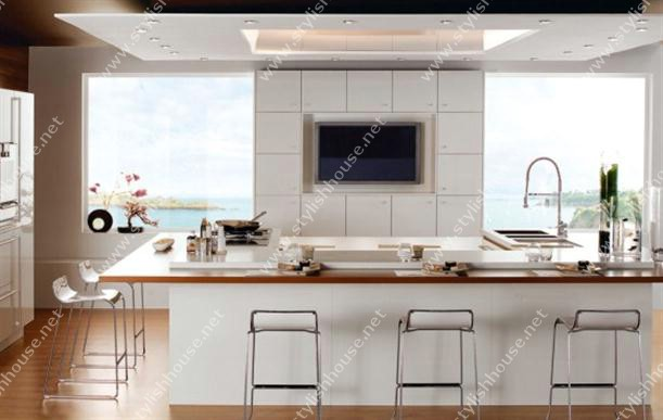 White with wooden floor Contemporary French Style Kitchen Designs for modern house