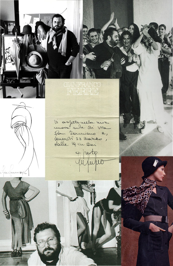 "Gianfranco Ferre in 1976, Ferre's ""Baila"" show and designer & models in Vogue Paris 1977,  letter confirmation of founding Gianfranco Ferre company, one of the sketches for the Baila collection, Ferre's designs in Grazia Italy 1971"