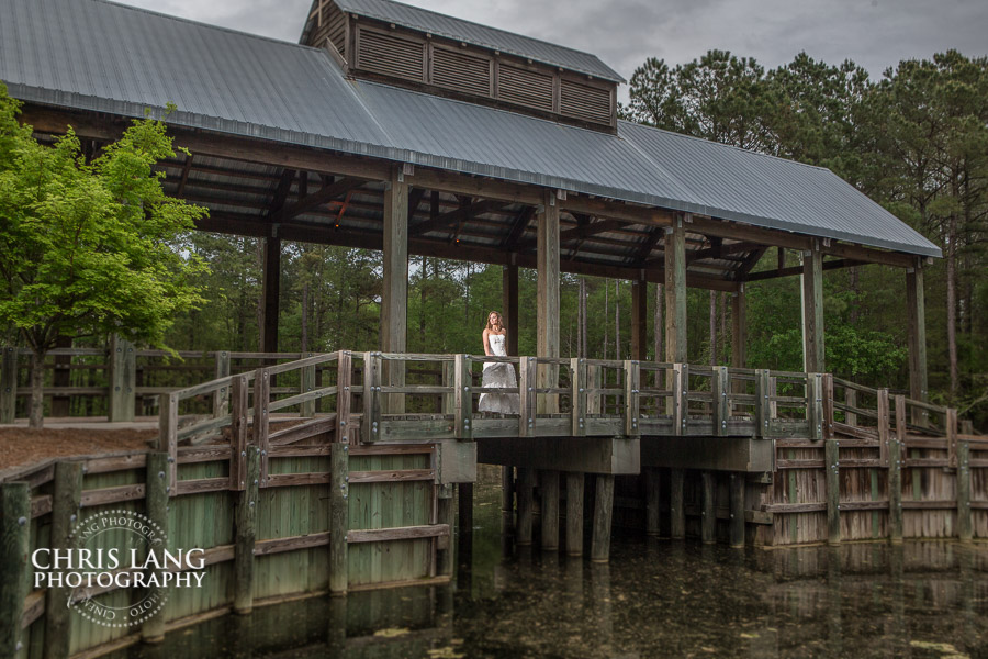 picture of bride over looking a pond while standing under a wooden covered bridge - movie like wedding picture