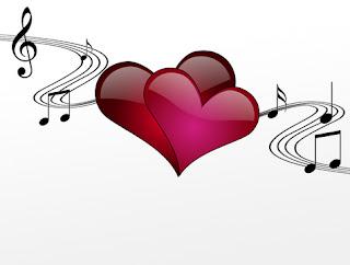 corazones con símbolos de música