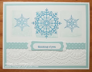 Winter Card: Stampin'UP!'s Snowflake Soiree stamped over acrylic block background with embossed lacy edge