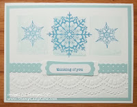 Winter Card made with Stampin'UP!'s Delicate Designs embossing folders.