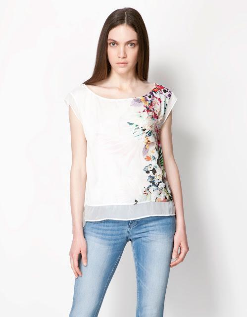 çiçek desenli bluz, beyaz renk