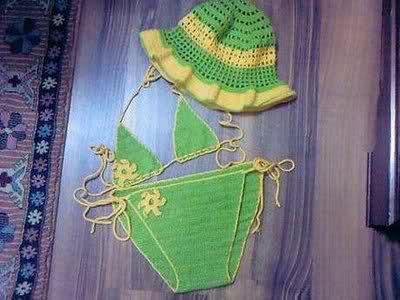 Yeşil elörgüsü kız çocuk bikini örneği modelleri yeni model