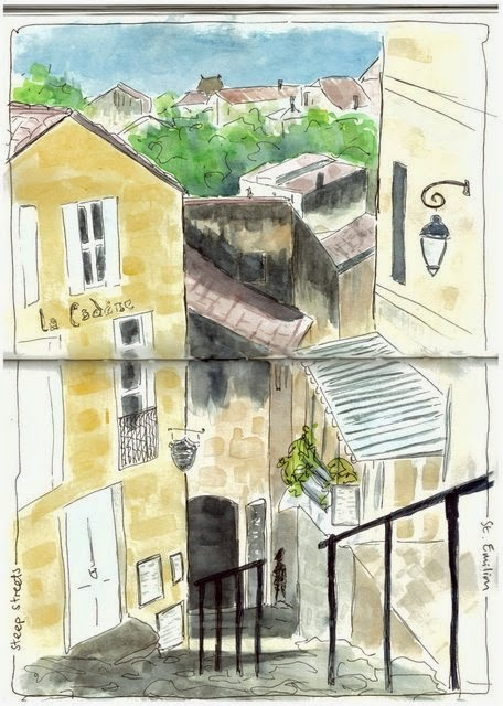 St Emilion steep streets ink and watercolour sketch