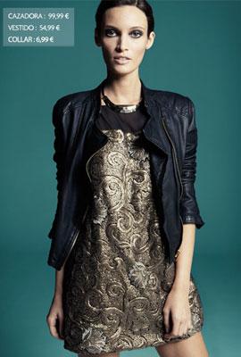 vestido negro y dorado de fiesta Sfera
