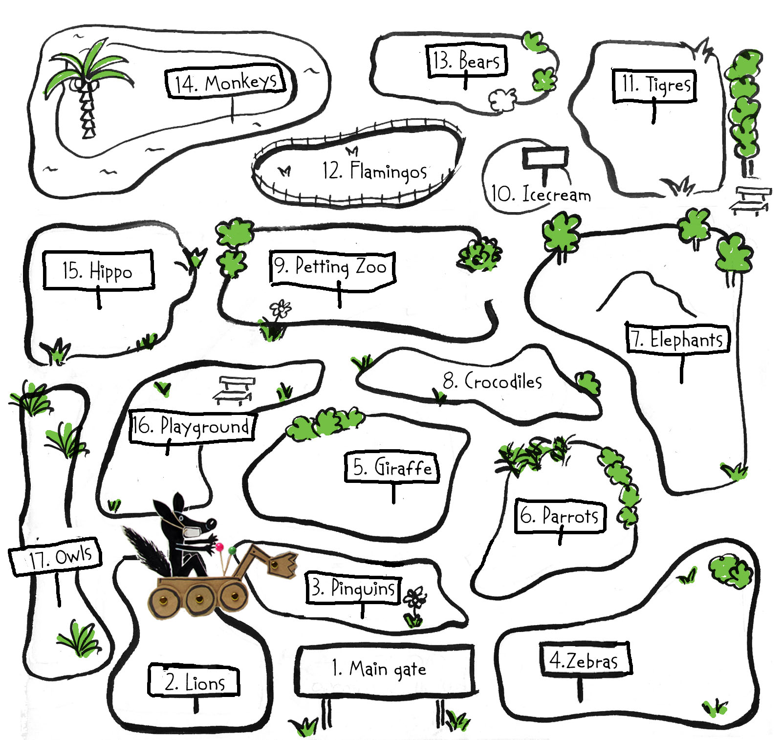 Line Drawing Zoo : The difference of zoo map