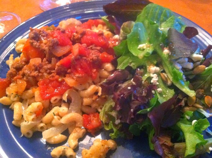 Mac and Cheese Topped with Beef Stewed Tomatoes, served with a big salad for #SundaySupper