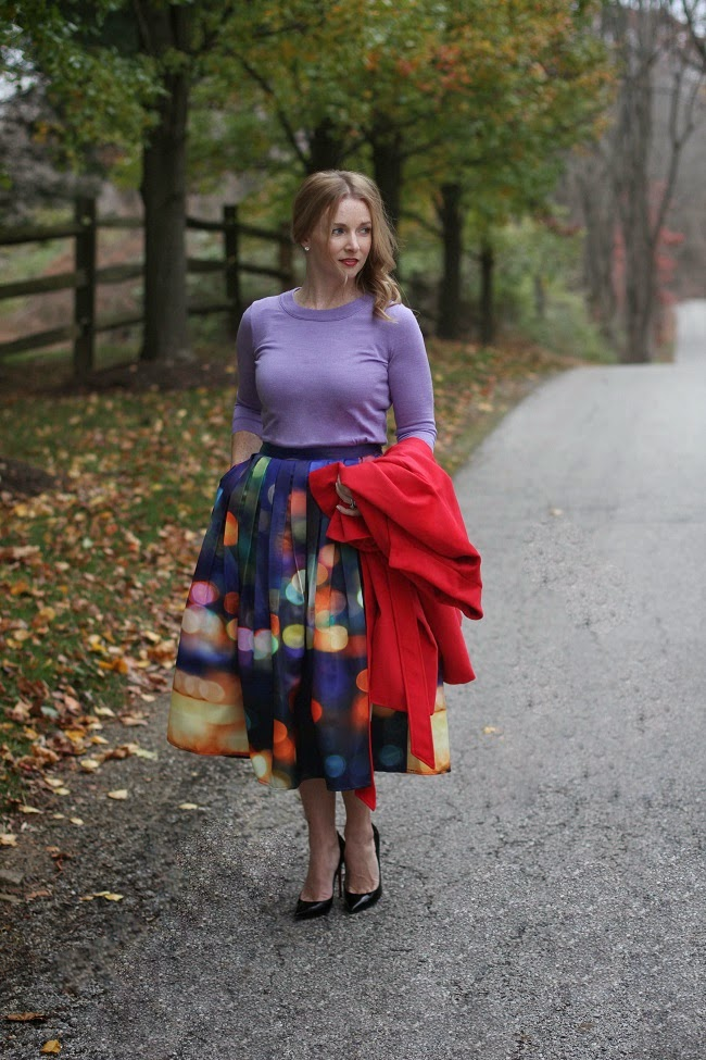 jcrew sweater, chicwish skirt, chicwish coat, christian louboutin heels