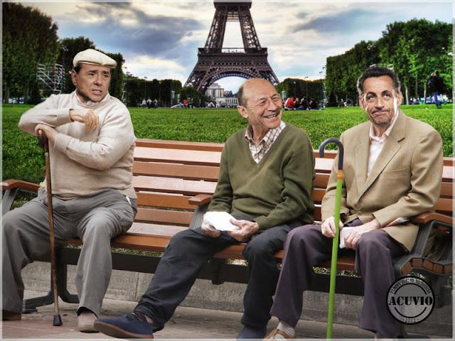 Funny image Nicolas Sarkozy Traian Băsescu Silvio Berlusconi