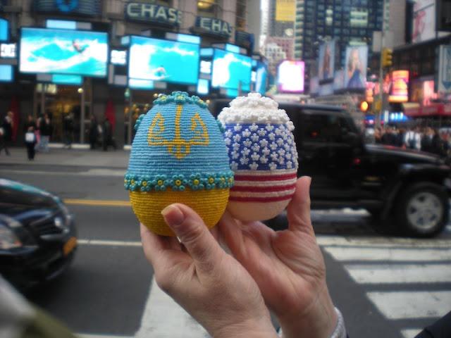 Ukraine and USA Flags Beaded Eggs Made by Daria Iwasko