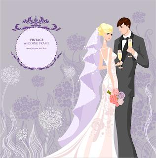 新郎新婦と結婚式の招待状 Wedding invitations with bride and groom イラスト素材1