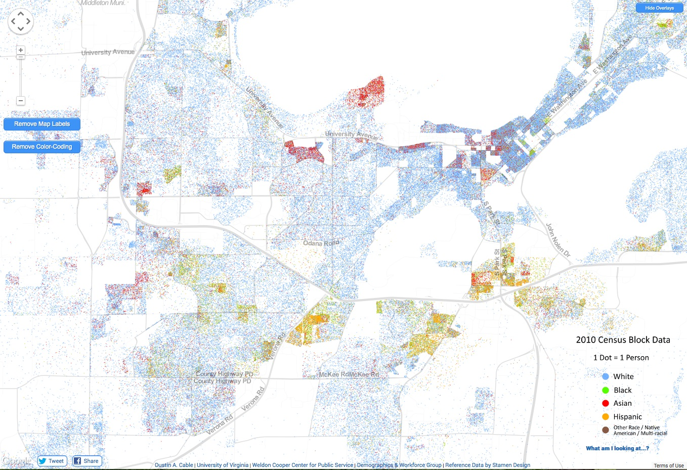Demographics Cooper Center Dot Map on