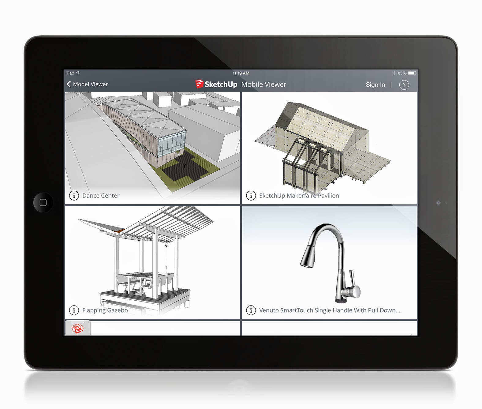 Sketchup mobile viewer for ios released sketchup warehouse 3d application