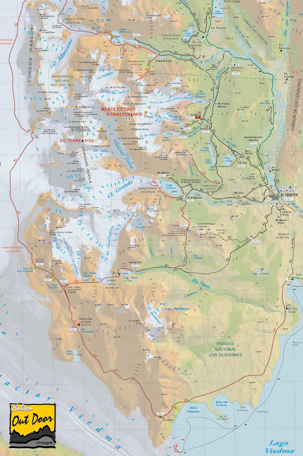 Mapa região El Chaltén - Argentina