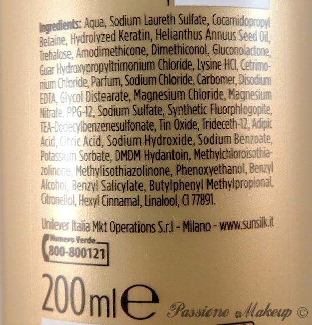 Sunsilk Keratinology inci shampoo protezione colore