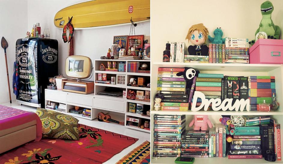 Dicas Para Decorar O Quarto Capricho ~ Estantes , cheias de objetos deixam o quarto com um ar descolado, e de