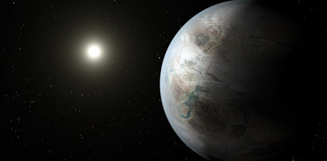 This artist's concept depicts one possible appearance of the planet Kepler-452b, the first near-Earth-size world to be found in the habitable zone of star that is similar to our sun. Credits: NASA/JPL-Caltech/T. Pyle