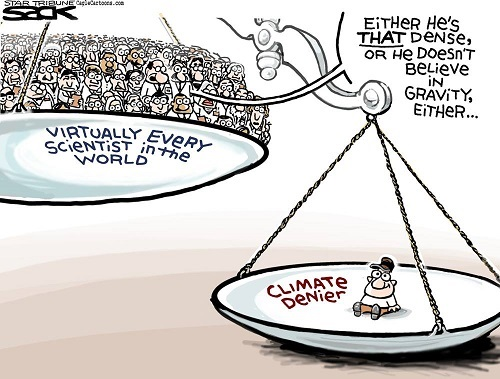 Toon of the Week - Either He's _That_ Dense Or He Doesn't Believe in Gravity Either ... / Virtually Every Scientist in the world vs. Climate Denier (Credit: www.facebook.com/iheartcomsci)