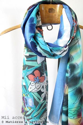 Foulard soldé coton imprimé Mii Coloriage coloré fleurs