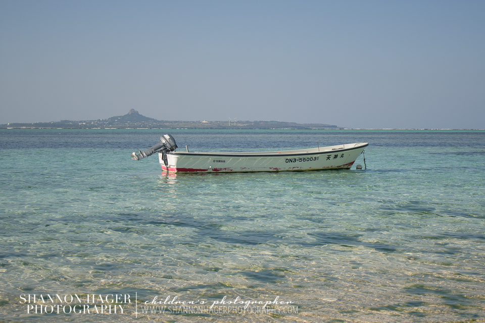 Boat in the Okinawa East China Sea by Shannon Hager Photography